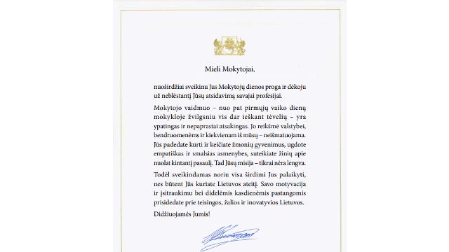 LR  Prezidento sveikinimas