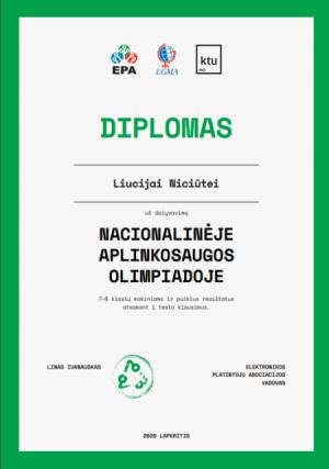 diplomas Liucija Niciūtei