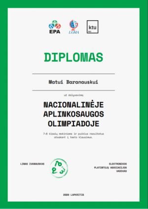 diplomas Matui Baranauskui