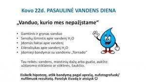 2021-03-22 Kovo 22-oji – Pasaulinė vandens diena